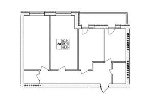 ЖК Озерний: планировка 3-комнатной квартиры 88.1 м²