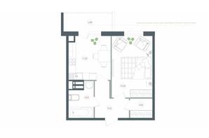 ЖК Озерний гай Гатне: планування 1-кімнатної квартири 43.4 м²