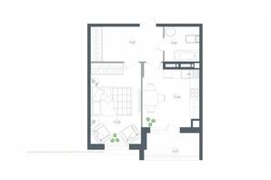 ЖК Озерний гай Гатне: планування 1-кімнатної квартири 46.36 м²