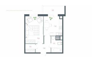 ЖК Озерний гай Гатне: планування 1-кімнатної квартири 43.39 м²