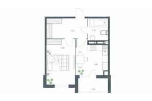 ЖК Озерний гай Гатне: планування 1-кімнатної квартири 46.66 м²