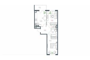 ЖК Озерний гай Гатне: планування 2-кімнатної квартири 68.06 м²