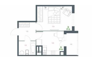 ЖК Озерний гай Гатне: планування 1-кімнатної квартири 40.7 м²