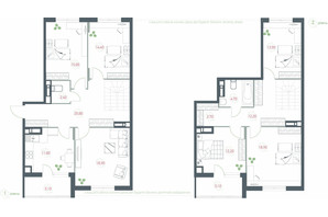 ЖК Озерний гай Гатне: планування 6-кімнатної квартири 158.1 м²