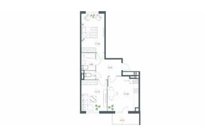 ЖК Озерний гай Гатне: планування 2-кімнатної квартири 67.34 м²