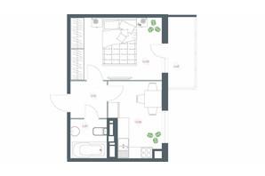 ЖК Озерний гай Гатне: планування 1-кімнатної квартири 40.38 м²