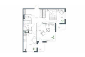 ЖК Озерний гай Гатне: планування 2-кімнатної квартири 72.66 м²
