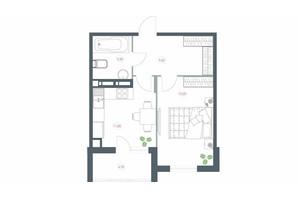ЖК Озерний гай Гатне: планування 1-кімнатної квартири 46.6 м²