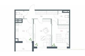 ЖК Озерний гай Гатне: планування 2-кімнатної квартири 63.8 м²