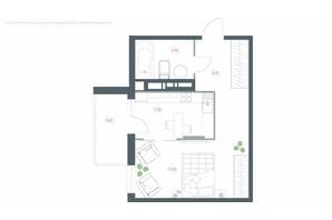 ЖК Озерний гай Гатне: планування 1-кімнатної квартири 38.92 м²