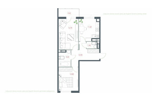 ЖК Озерний гай Гатне: планування 2-кімнатної квартири 62.62 м²