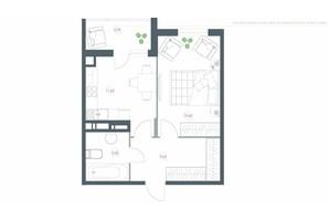 ЖК Озерний гай Гатне: планування 1-кімнатної квартири 46.3 м²