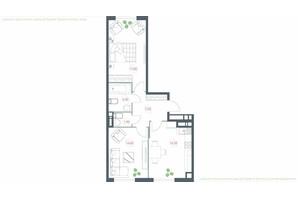 ЖК Озерний гай Гатне: планування 2-кімнатної квартири 63 м²