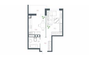 ЖК Озерний гай Гатне: планування 1-кімнатної квартири 42.34 м²