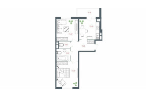ЖК Озерний гай Гатне: планування 2-кімнатної квартири 65.69 м²