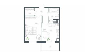 ЖК Озерний гай Гатне: планування 1-кімнатної квартири 42.9 м²