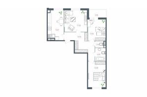 ЖК Озерний гай Гатне: планування 3-кімнатної квартири 90.23 м²