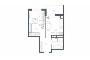 ЖК Озерний гай Гатне: планування 1-кімнатної квартири 42.57 м²