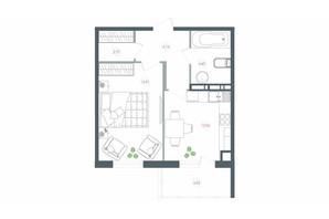 ЖК Озерний гай Гатне: планування 1-кімнатної квартири 45.55 м²
