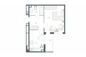 ЖК Озерний гай Гатне: планування 1-кімнатної квартири 51.12 м²
