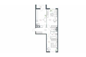 ЖК Озерний гай Гатне: планування 2-кімнатної квартири 73.24 м²