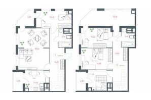 ЖК Озерний гай Гатне: планування 5-кімнатної квартири 154.96 м²