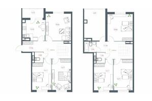 ЖК Озерний гай Гатне: планування 6-кімнатної квартири 159.19 м²