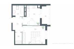 ЖК Озерний гай Гатне: планування 1-кімнатної квартири 43.37 м²