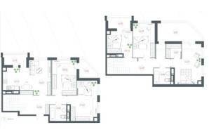 ЖК Озерний гай Гатне: планування 6-кімнатної квартири 150.33 м²