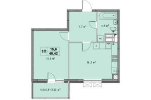 ЖК Озерный гай Гатное: планировка 1-комнатной квартиры 48.42 м²