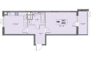 ЖК Озерный гай Гатное: планировка 1-комнатной квартиры 49.8 м²