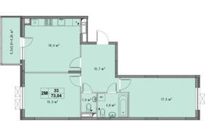 ЖК Озерный гай Гатное: планировка 3-комнатной квартиры 73.04 м²