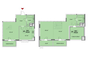 ЖК Озерный гай Гатное: планировка 3-комнатной квартиры 105.22 м²