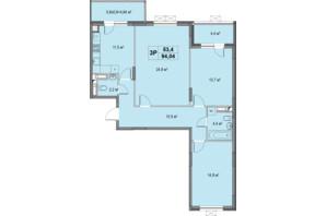 ЖК Озерный гай Гатное: планировка 3-комнатной квартиры 94.04 м²
