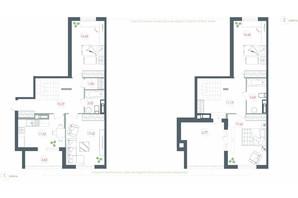 ЖК Озерный гай Гатное: планировка 4-комнатной квартиры 125.8 м²
