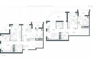 ЖК Озерный гай Гатное: планировка 6-комнатной квартиры 151.58 м²