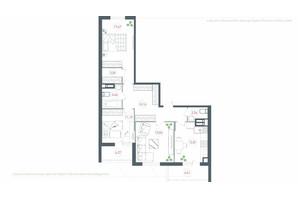 ЖК Озерный гай Гатное: планировка 3-комнатной квартиры 92.44 м²