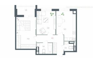 ЖК Озерный гай Гатное: планировка 2-комнатной квартиры 64.64 м²