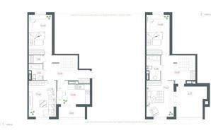 ЖК Озерный гай Гатное: планировка 4-комнатной квартиры 125.5 м²