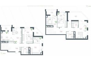 ЖК Озерный гай Гатное: планировка 6-комнатной квартиры 150.33 м²