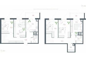 ЖК Озерный гай Гатное: планировка 5-комнатной квартиры 125.71 м²