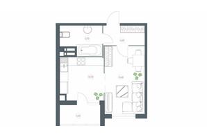 ЖК Озерный гай Гатное: планировка 1-комнатной квартиры 42 м²
