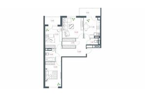 ЖК Озерный гай Гатное: планировка 3-комнатной квартиры 91.74 м²