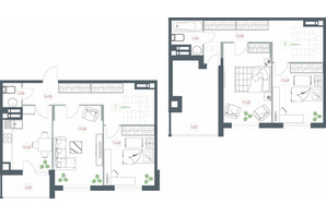 ЖК Озерный гай Гатное: планировка 4-комнатной квартиры 117.22 м²