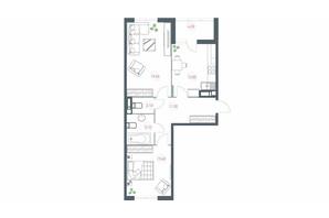 ЖК Озерный гай Гатное: планировка 2-комнатной квартиры 68.9 м²