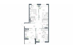 ЖК Озерный гай Гатное: планировка 3-комнатной квартиры 85.7 м²