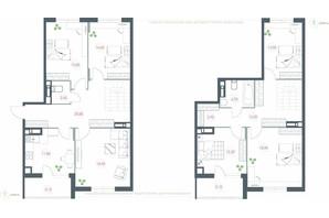 ЖК Озерный гай Гатное: планировка 6-комнатной квартиры 158.1 м²