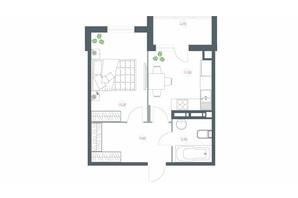 ЖК Озерный гай Гатное: планировка 1-комнатной квартиры 46.3 м²