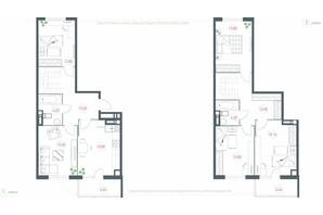 ЖК Озерный гай Гатное: планировка 5-комнатной квартиры 135.68 м²