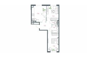 ЖК Озерный гай Гатное: планировка 2-комнатной квартиры 63.4 м²